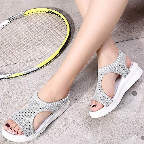 été Tongs Femmes Confortable Chaussures Gris Poids Léger Sandales Sport Mesh Plats Plage Kemosen tqpWwYEPO