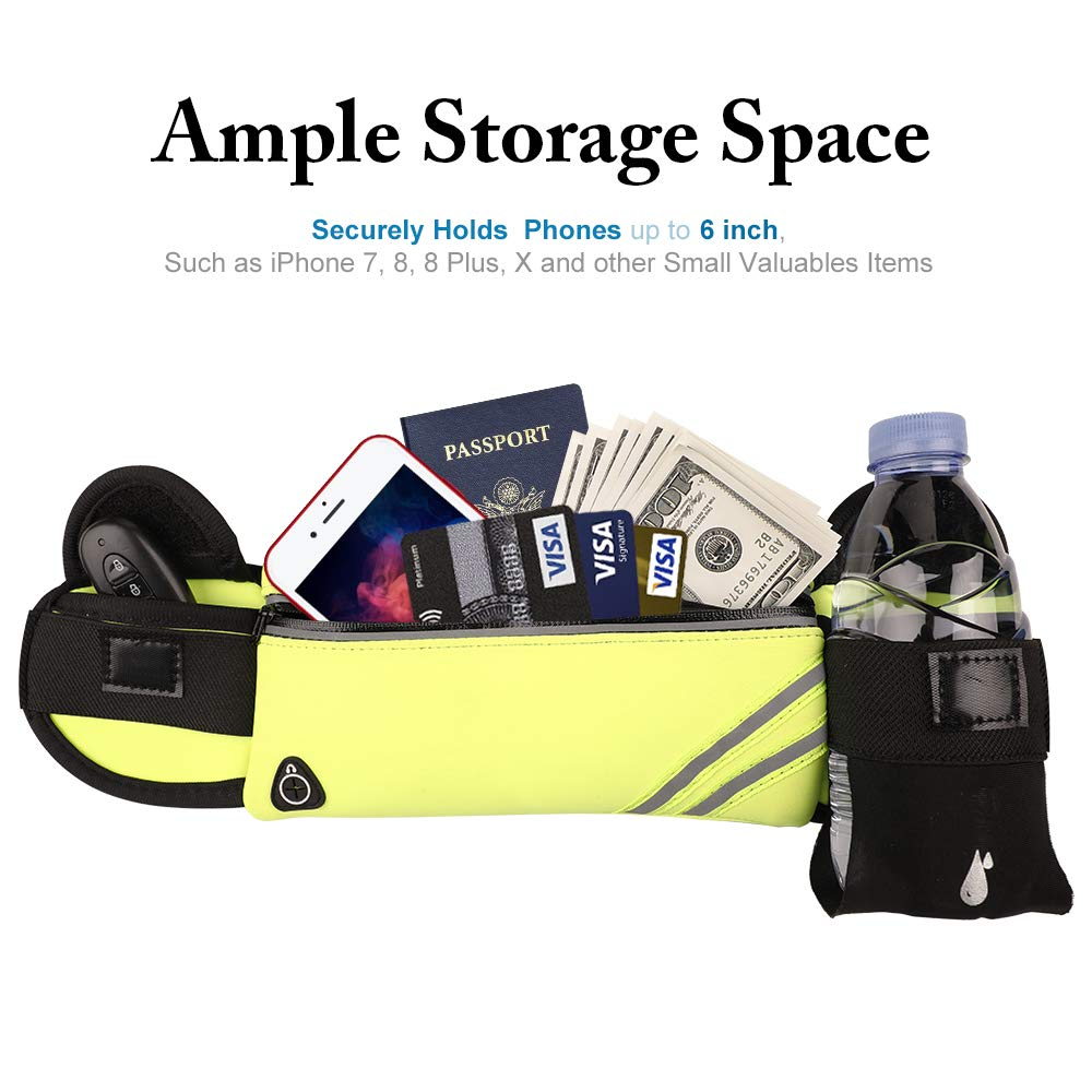 Reflective Water Resistant Slim Fanny Pack for Running Fitness Travelling Money Belt Carrying iPhone Samsung Up to 6.4inch MAXTOP Unisex Running Belt Waist Pack