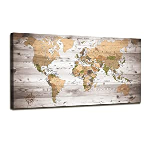 Wall Art for Living Room World Map Poster Photo Canvas Print Nautical Decor Large Modern Framed Art Map of The World Vintage Artwork Wall Maps Pictures for Office Wall Art Travel Memory Home Decor