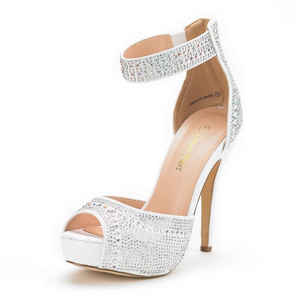 DREAM PAIRS Women's Swan-05 Shine White High Heel Plaform Dress Pump Shoes - 8 M US
