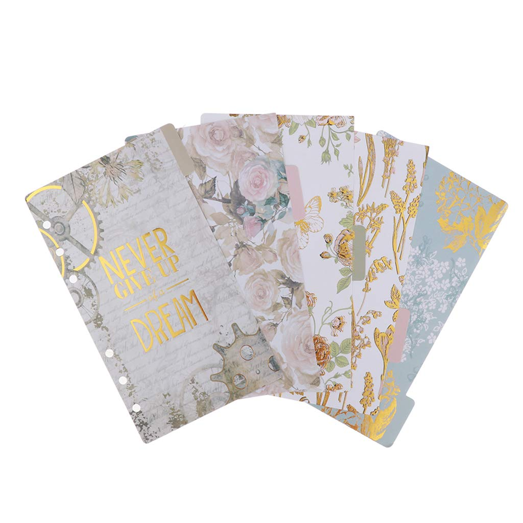 Amazon.com: Prettyia 5 Pack 6 Ring Binder Dividers with ...