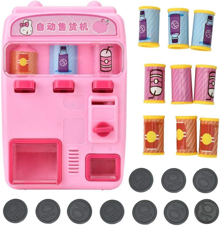 Máquina expendedora de juguetes para niños Jugar a la casa de los niños Simulación Caja registradora automática Máquina expendedora Pretender juguete de juguete educativo para niños (Rosado)