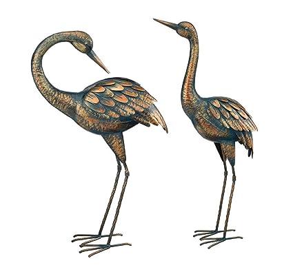 Best Amazon.com : Copper Patina Crane Pair Metal Garden Decor Statues  KS65