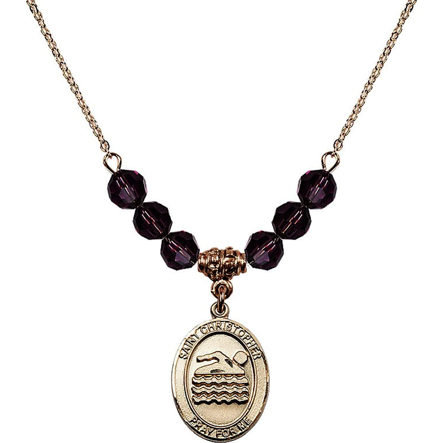 18-Inch Hamilton Gold Plated Necklace with 6mm Purple February Birth Month Stone Beads and Saint Christopher/Swimming Charm