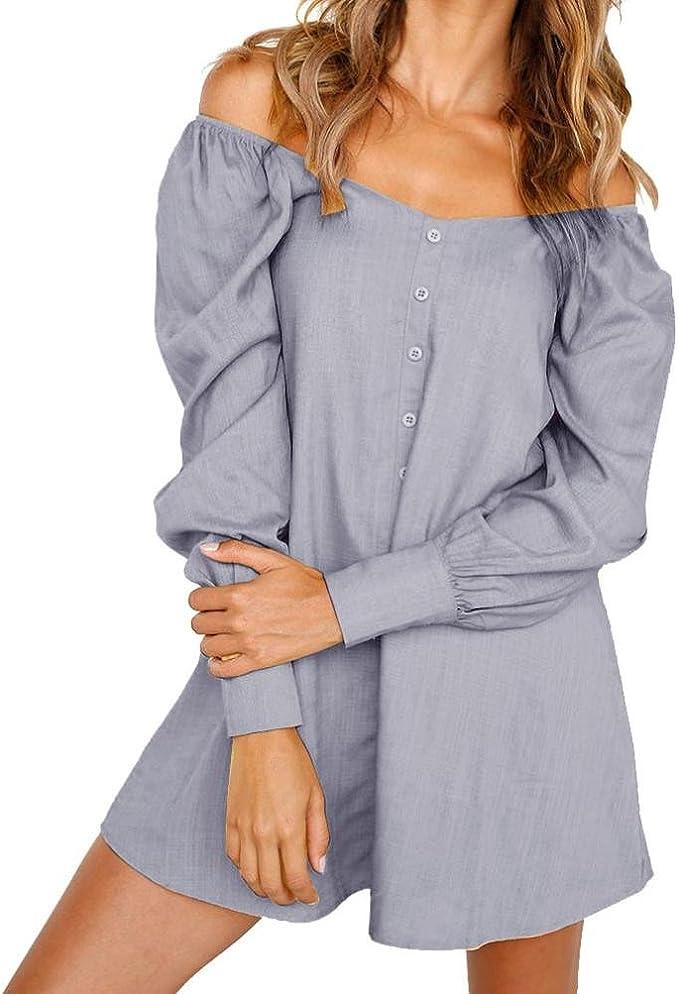 Damen Blumen Sommer Blusenkleid Longbluse Shirtkleid Minikleid Tunika Bluse Tops