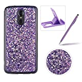 Glitter Case for LG Stylus 4/Q Stylus,Rubber Cover for LG Stylus 4/Q Stylus,Herzzer Ultra Thin Slim Luxury Pretty [Purple Sequins] Sparkle Diamond Soft Gel Silicone Clear Bumper Back Cover