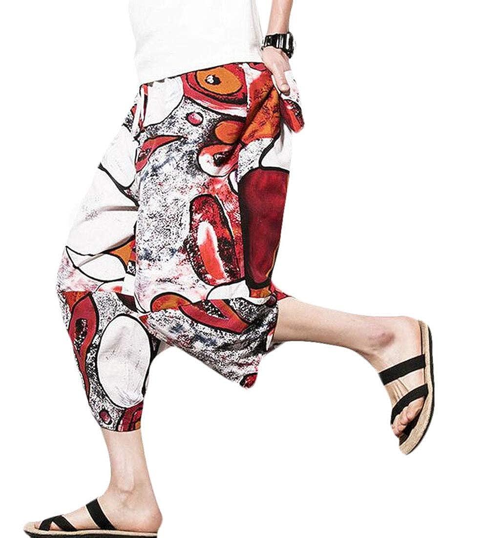 mydeshop Men Harem Pants Floral Print Cotton Line Joggers Trousers Pants