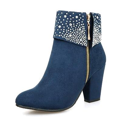 Minetom Winterstiefel Damen Warm Gefüttert Schneestiefel Schuhe Flach  Wildleder Strass Stöckelschuhe Kurzschaft Stiefel mit Hohen Absätzen bb424c4eb1
