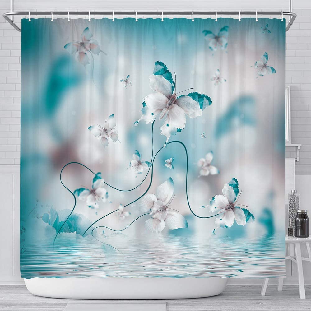 Teal Butterfly Shower Curtain, Butterfly in Spring with Irises Flowers Fabric Shower Curtain, Blue Floral Flower Polyester Fabric Waterproof Bathroom Curtains, 12 Hooks Included 69x70inches