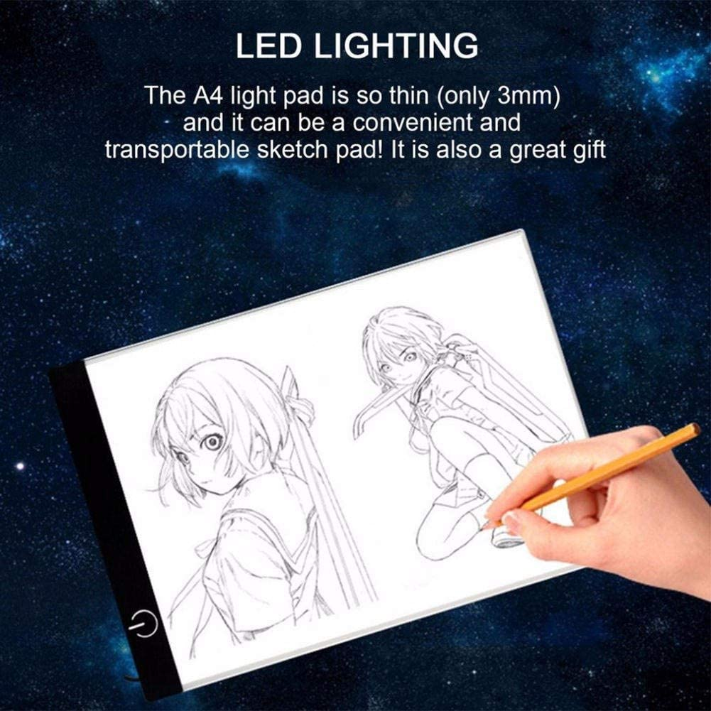 A4 LED Light Box Tracer USB Powered Ultra-Thin Adjustable LED Light Tablet Board Pad for 5D DIY Diamond Painting