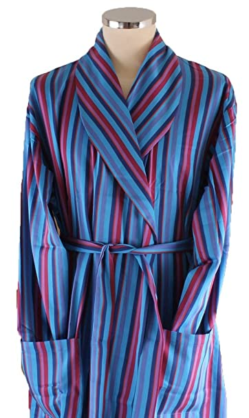 b7552ca93c Bown of London Mens Marylebone Dressing Gown - Light Blue Navy Red   Amazon.co.uk  Clothing