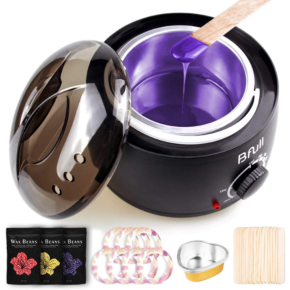 BFULL Wax Warmer (14.2 Oz), Hair Removal Home Waxing Kit with Wax Beans, Sticks, Wax Warmer Collars, Wax Melting Bowls, for Full Body, Legs, Face, Eyebrows, Bikini Women Men Painless at Home Waxing by BFULL