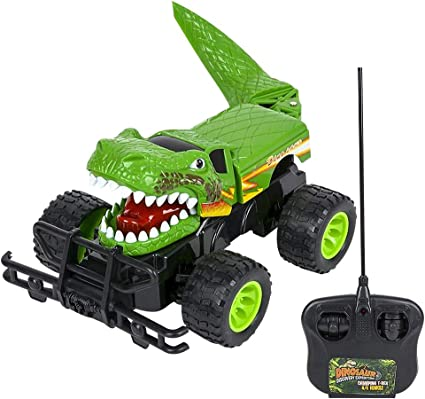 Amazon Com Artcreativity 14 Inch Remote Control Dinosaur Monster Truck Dino Rc Toy Car Battery Operated Unique Birthday For Boys And Girls Large Carnival Game Prize Toys Games