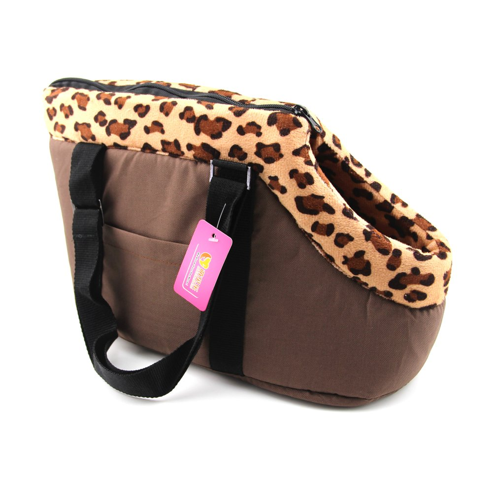 DOGGYZSTYLE Portable Small Medium Pet Dog Puppy Cat Travel Outdoor Carrier Carry Tote Bag Handbag Purse (L, Brown)