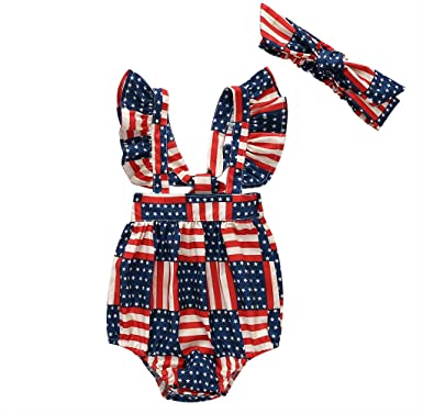 Kids Newborn/Baby Girls 4th of July Romper Outfits Set American Flag Ruffle Jumpsuit Bodysuit Summer Clothes Set