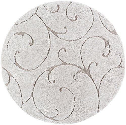 Scrollwork Transitional Scroll Cream Round Shag Area Rug, 5' Round