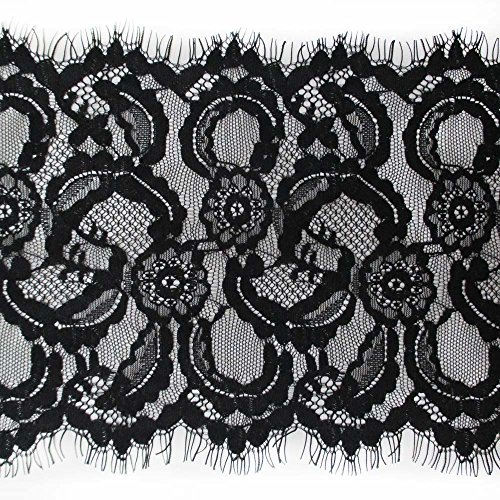7 Inches Wide Black Eyelash Lace Trimming Fabric For Garment Home Decor DIY Craft Supply Pack of 3 -