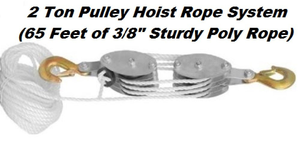 Katzco Poly Rope Pulley Block & Tackle Hoist With Safety Snap Hook Heavy Duty 65 Foot Long Wheel & Axle Lift For Easy Lifting, Up To 4000 LB Capacity