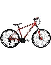 Monk Bicicleta CROMADA DE MONTAÑA Shimano con SUSPENSIÓN Frenos DE Disco Fast Line RODADA 26 21 VELOCIDADES (Rojo)