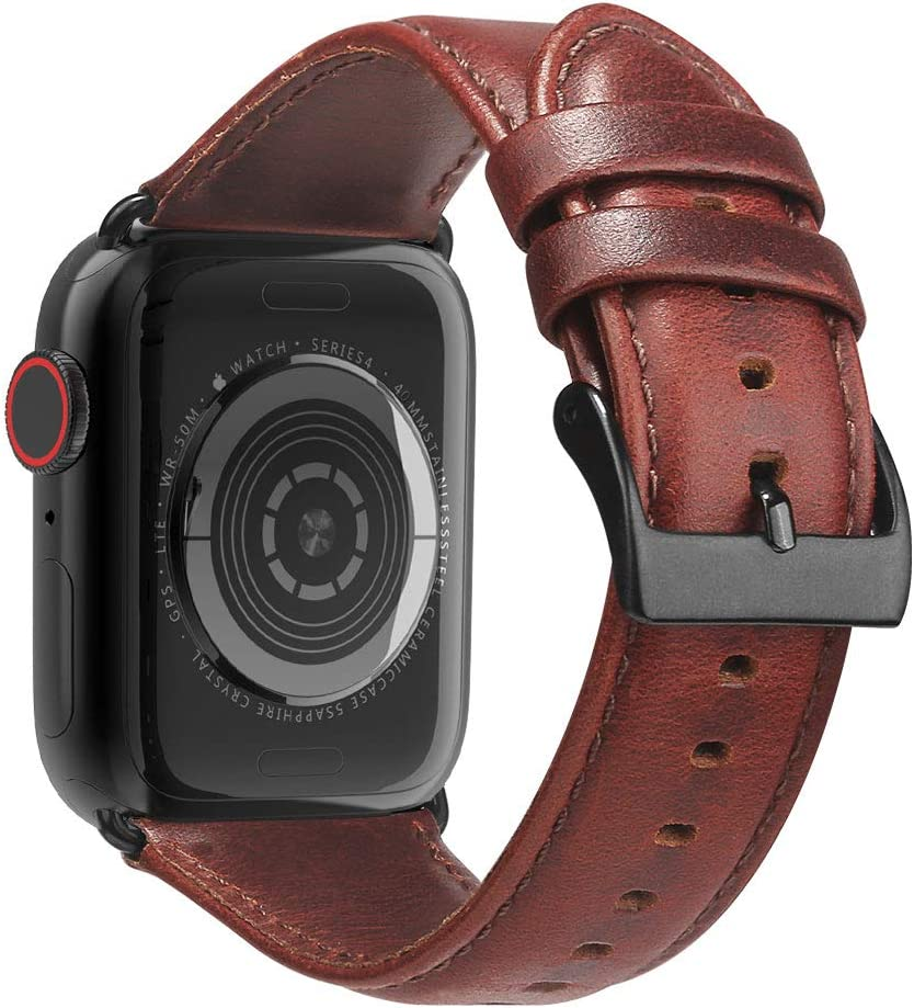 BRG Leather Bands Compatible with Apple Watch Band 44mm 42mm 40mm 38mm, Men Women Replacement Genuine Leather Strap for iWatch SE Series 6 5 4 3 2 1, Reddish Band/Brown Adapter, 40mm 38mm