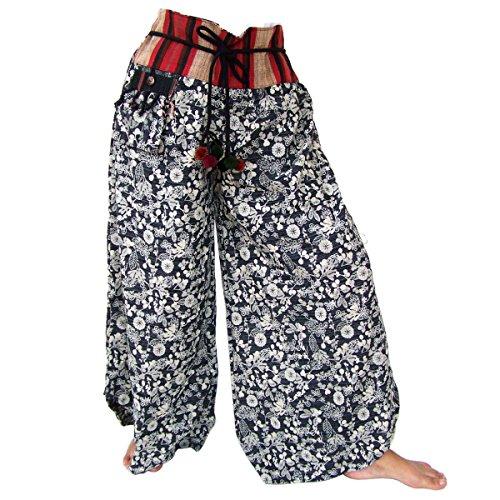 Hippiehose, Schlaghose, Goa Style, Handarbeit aus reiner Baumwolle, schwarz-weiß