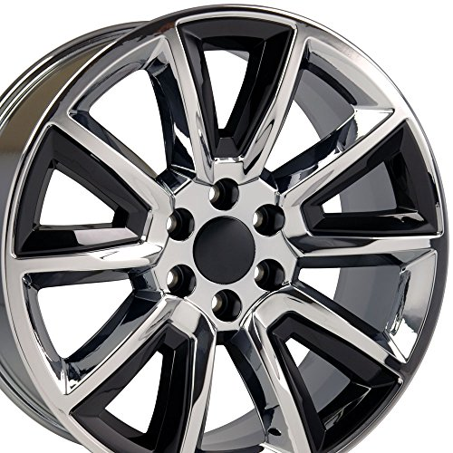 20x8.5 Wheels Fit GM Trucks - Chevy Tahoe Style Rims Chrome w/Black Inserts - SET (Chevy Truck Rims 20 compare prices)