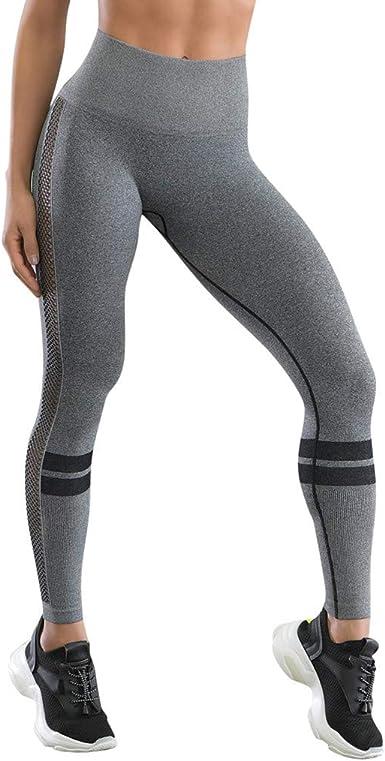 Lymphoma Mallas Deportivas Mujer Pantalones Pirata Leggins Deportivos Color Sólido Cintura Alta Leggins Mujer Fitness Mallas Push Up para Running Yoga Fitness Gym (L, Gris): Amazon.es: Deportes y aire libre