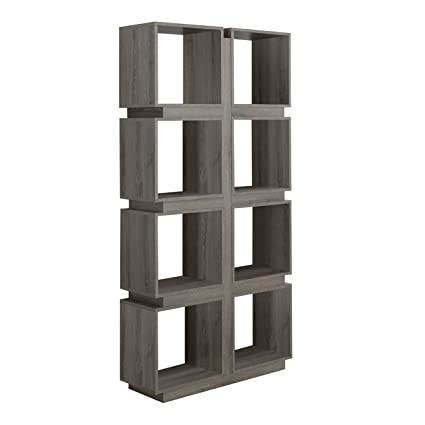 Monarch Specialties Dark Taupe Reclaimed Look Bookcase 71 Inch