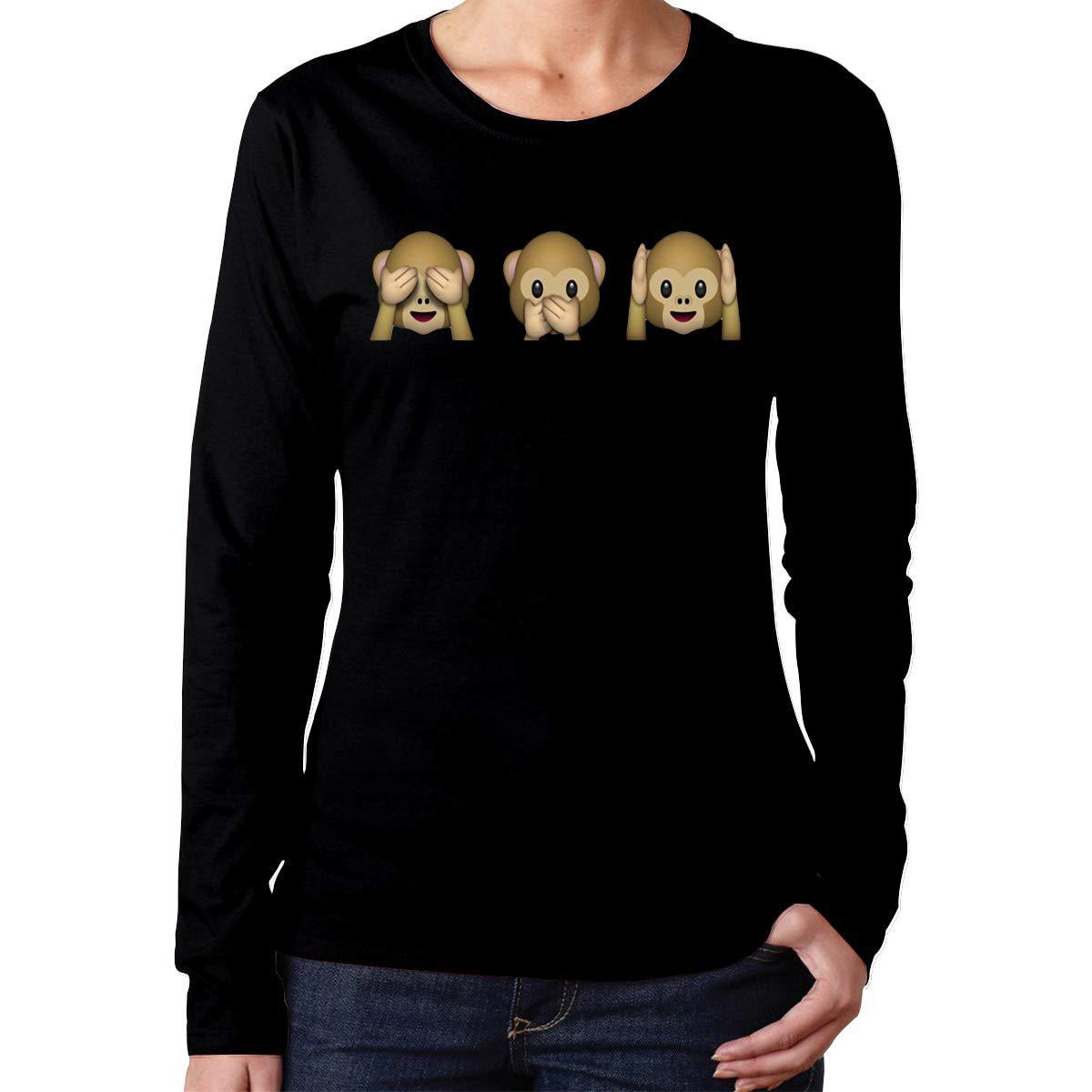 Sitox Cute Monkey See No Evil Tees Black Shirts