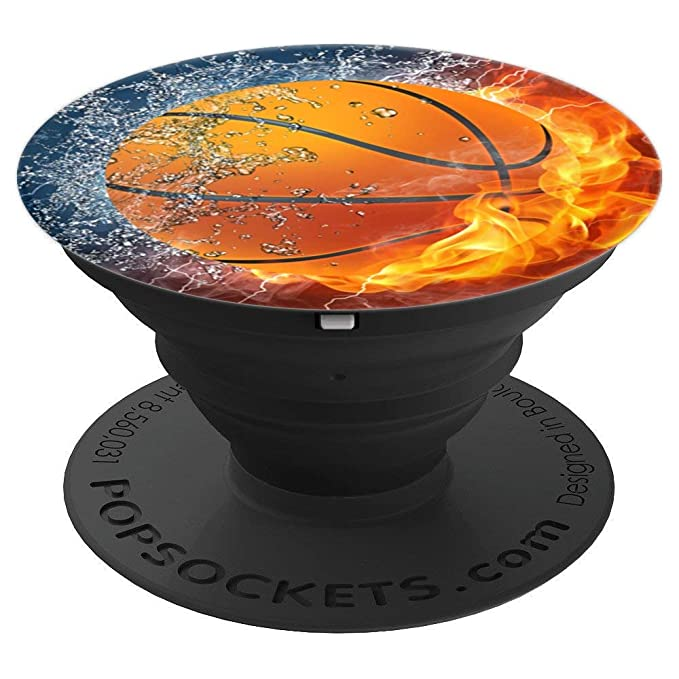 Basketball On Fire and Water Pop Sockets - PopSockets Grip and Stand for Phones and Tablets