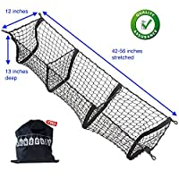 HangOuts Premium Three Pocket Mesh Storage Net - Black Mesh Three Pocket Trunk Cargo Organizer with Free Storage Bag
