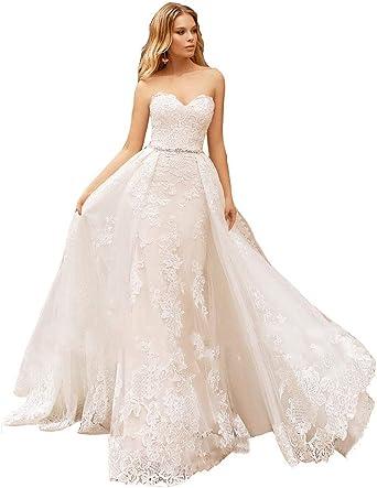 Changjie Womens Sweetheart Hi-Lo Beach Wedding Bridesmaid Gown with Beaded Belt
