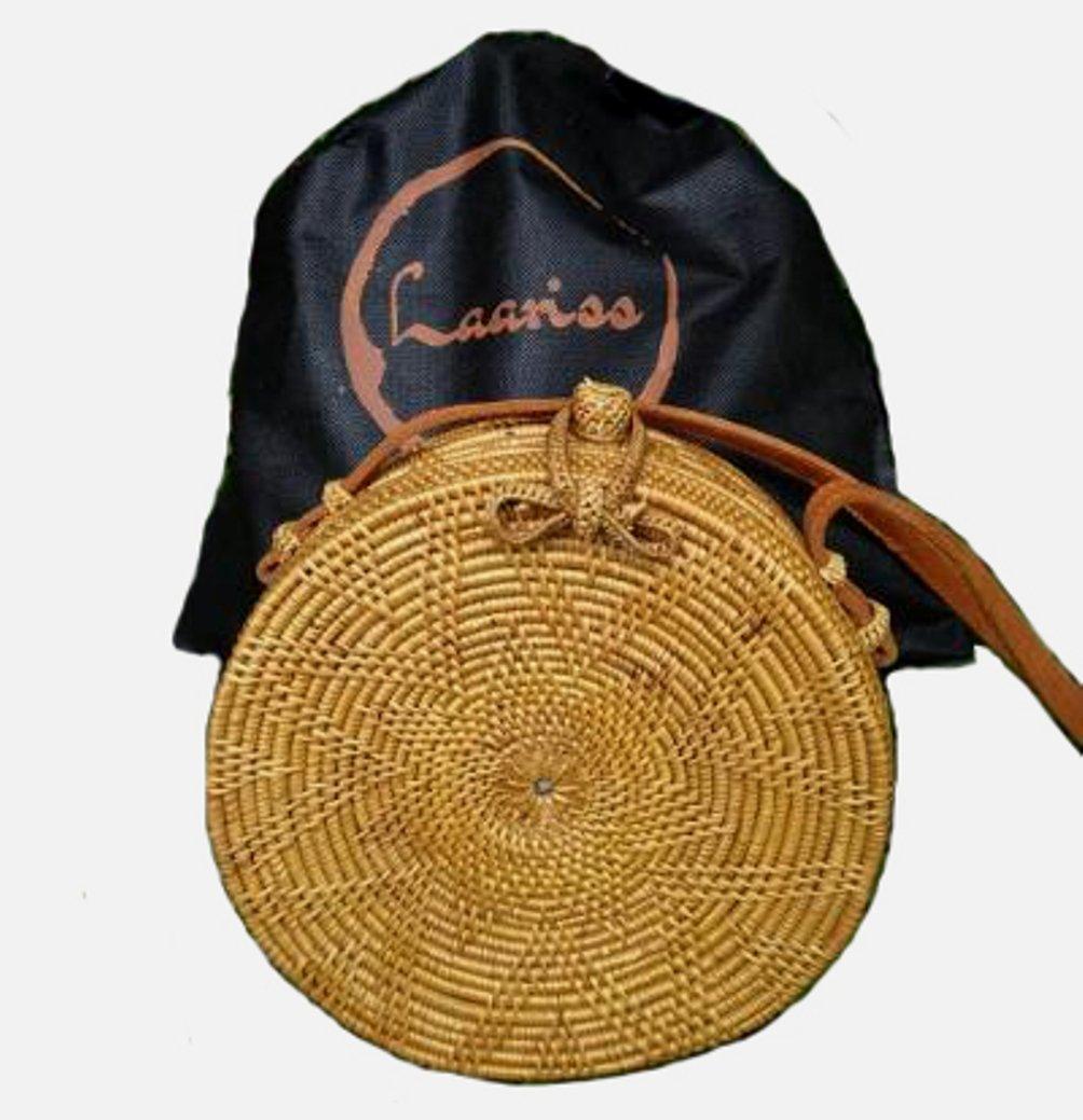 Round Rattan Bag Cross Body Handbag Handmade in Bali Ata Batik Lining Leather Strap 20cm Laariss