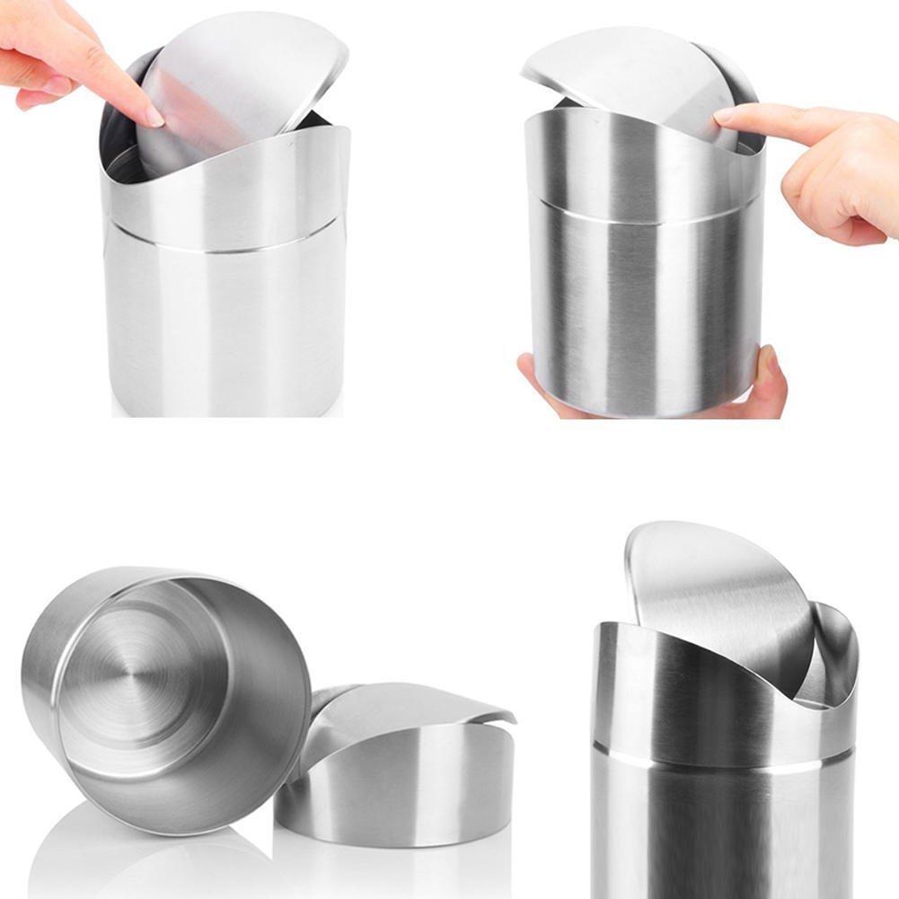 0.27Gal recyclage poubelle de bureau de bureau de cuisine de poubelle 1L La poubelle de bureau de Tableau de mini poubelle en acier inoxydable peut renverser