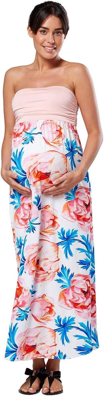 Donna pr/émaman Vestito Impero Maxi Senza Spalline maternit/à Happy Mama 268p