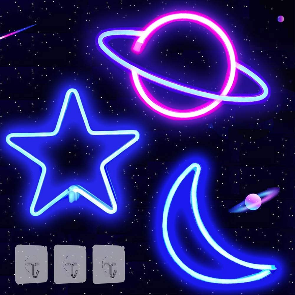 3 Pack Star Moon Planet Neon Lights Neon Signs for Wall Decor, USB or Battery Operated LED Signs for Bedroom, Decorative Neon Light Sign for Christmas, Birthday, Living Room, Girls, Kids Room