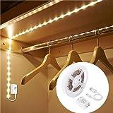 Under Cabinet Light Strip Rechargeable , LUXJET 1M LED Strip Light with Motion Sensor, Warm White led Light for Cabinet, Kitc