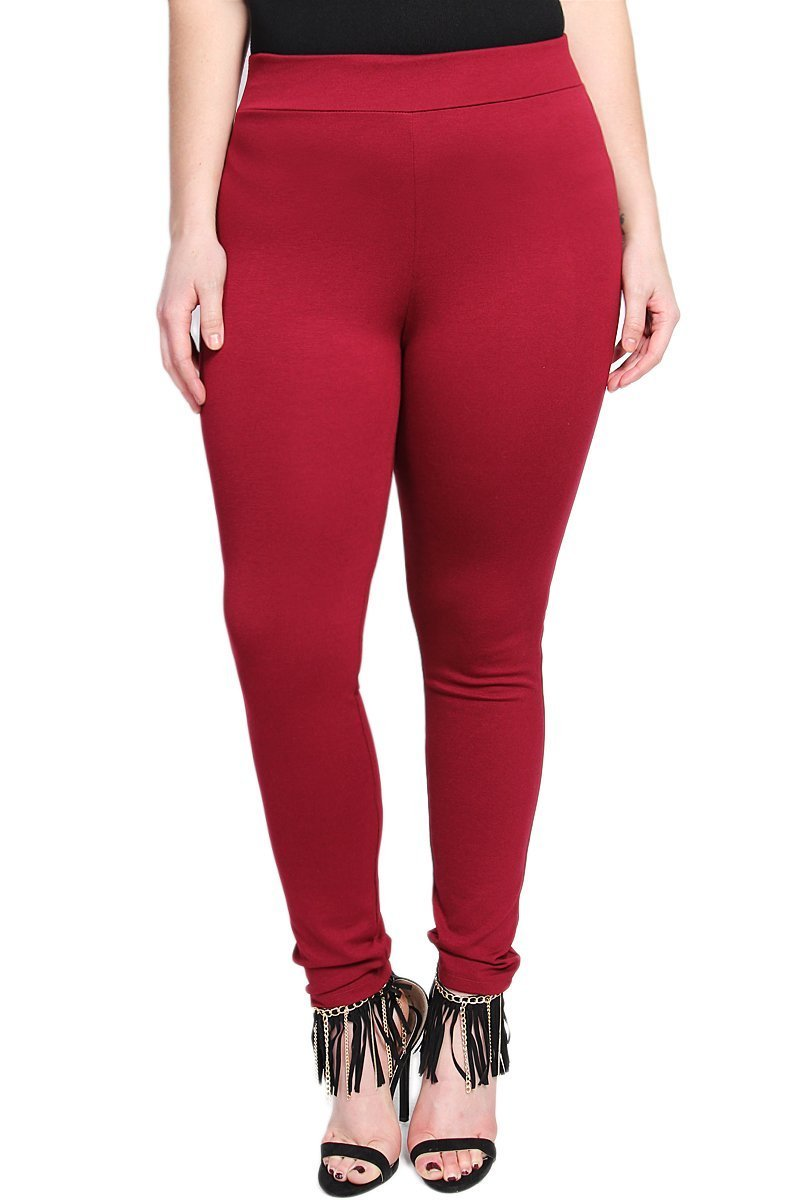 TheMogan Women's Elastic High Waisted Ponte Ankle Skinny Pants, Burgundy 1XL