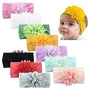 Baby Girl Nylon Headbands Turban Newborn Infant Toddler Hairbands with Bows Children Hair Accessories (Nylon flower3 (10pcs))