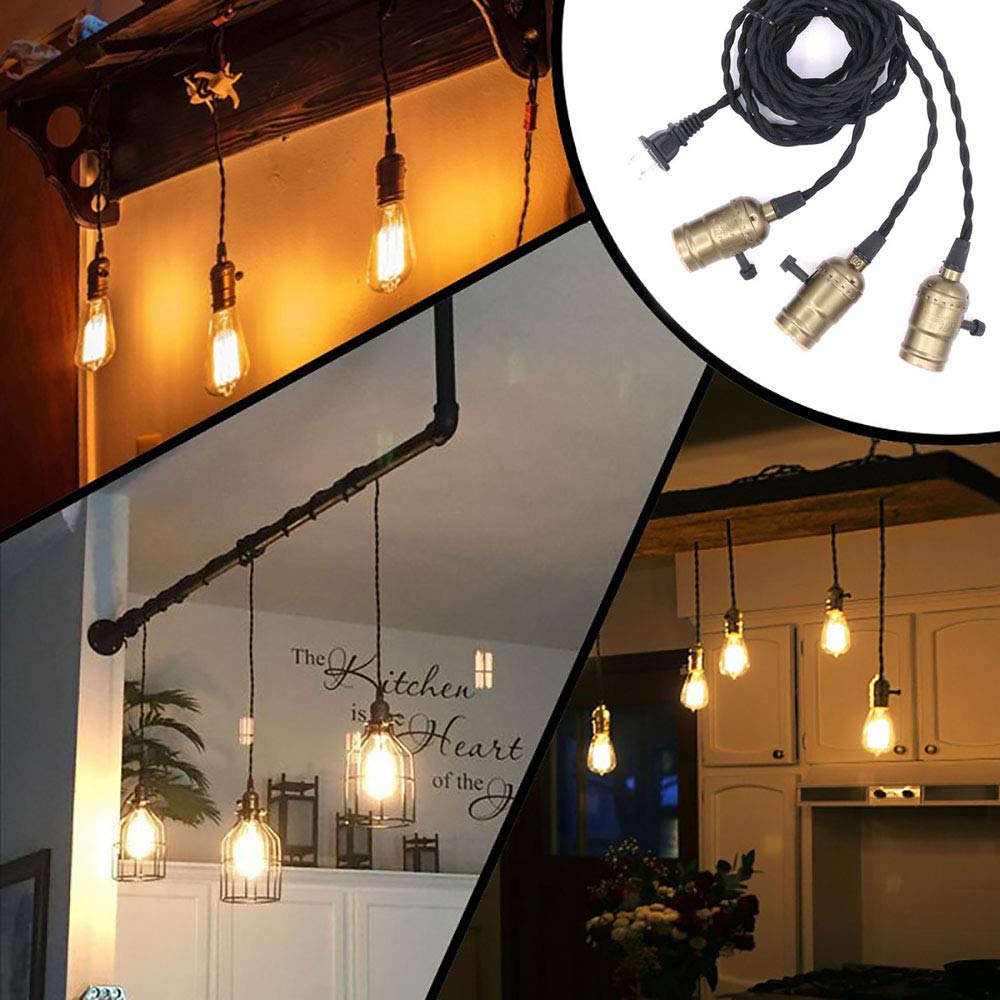 String Light Fit for E26 Bulb AOZBZ Hanging Lights with Plug in Cord 15.7FT 3 Light Sockets Pendant Lighting Not Included