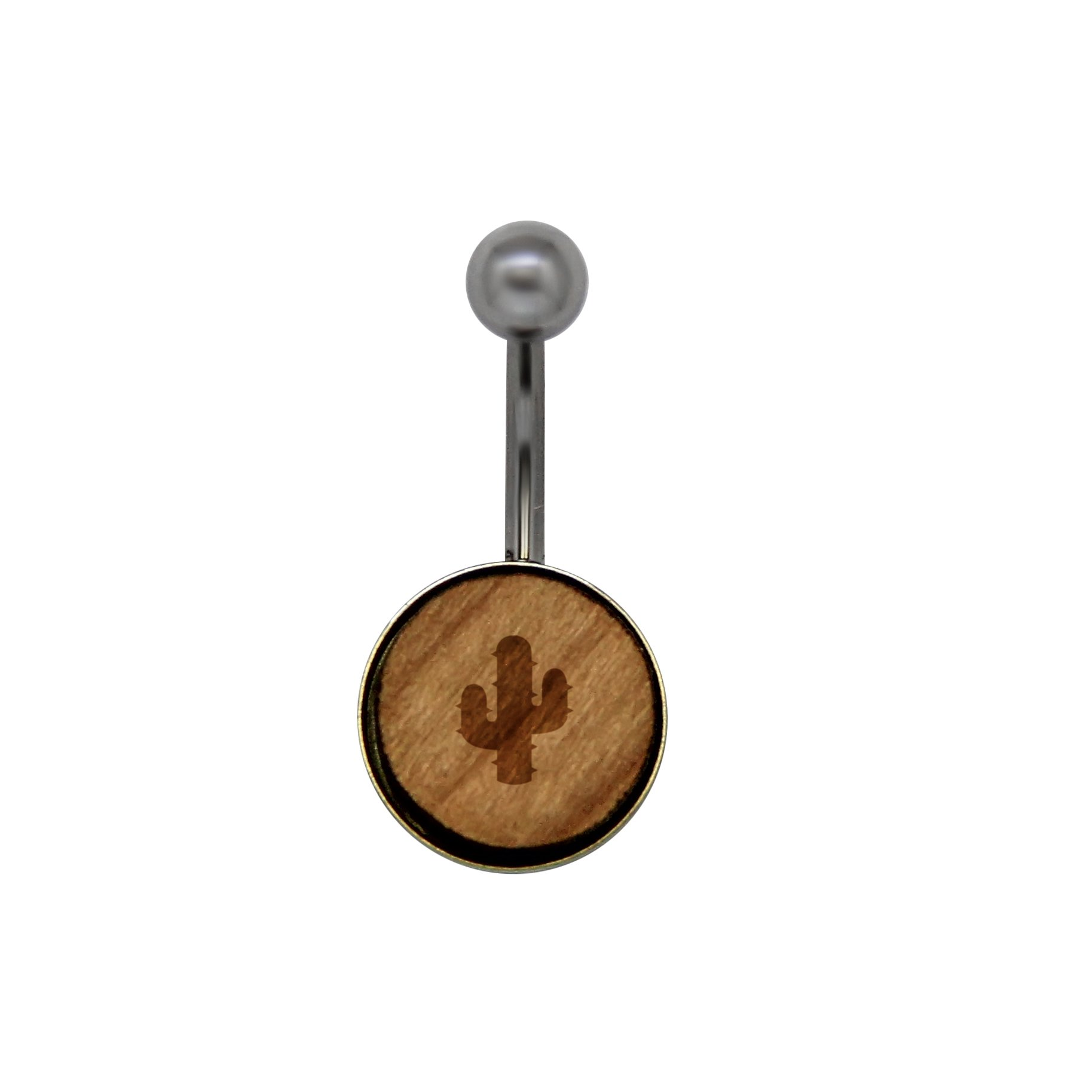 Prickly Cactus Surgical Stainless Steel Belly Button Rings - Size 14 Gauge Wooden Navel Ring - Rustic Wood Navel Ring With Laser Engraved Design