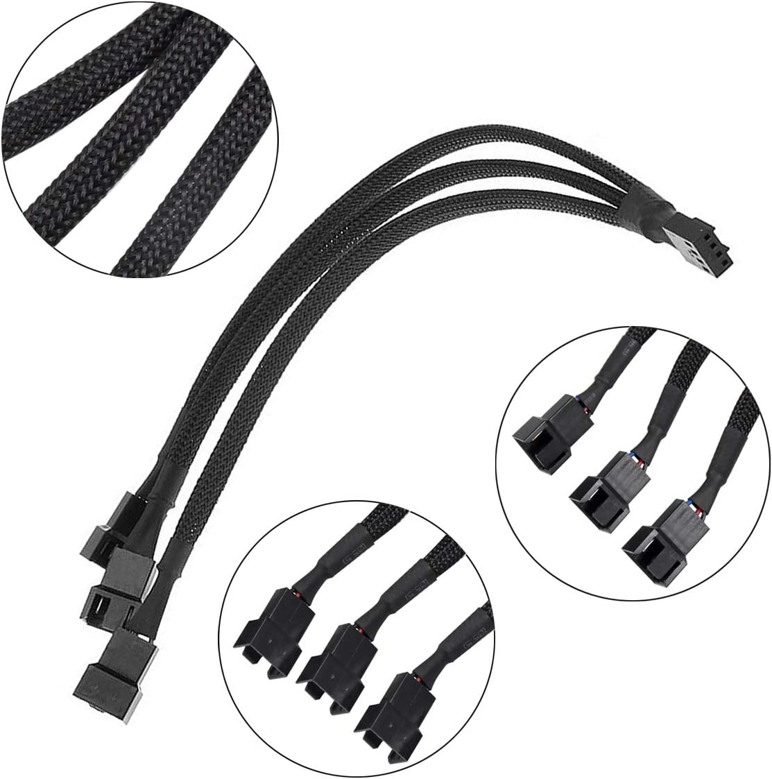 Netspower 4 Pcs Fan Splitter Cable PWM 1 to 3 Converter 4 Pin Fan Adapter Connector Fan Extension Power Cable Sleeved Fan Hub for Computer PC Motherboard