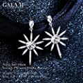 Star Earrings with Swarovski Rhinestone, Dangle Drop 925 Sterling Silver Earrings for Women
