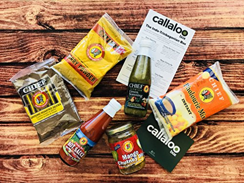 The Indo-Trinbagonian Box by Callaloo Box: Curry Powder, Geera Powder, Chunky Red Pepper Sauce, Mango Chutney Dip, Pholourie Mix, Green Seasoning