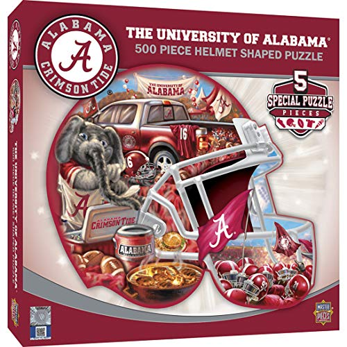 MasterPieces NCAA Alabama Crimson Tide 500 Piece Helmet Shaped Jigsaw Puzzle