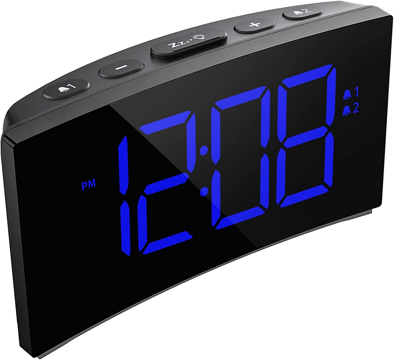 5 Curved Dimmable LED Screen Ultra-Clear White Large Number Snooze Digital Clock for Kid Senior 12//24H PICTEK Digital Alarm Clock NO Adapter 6 Brightness Alarm Clock for Bedroom Office
