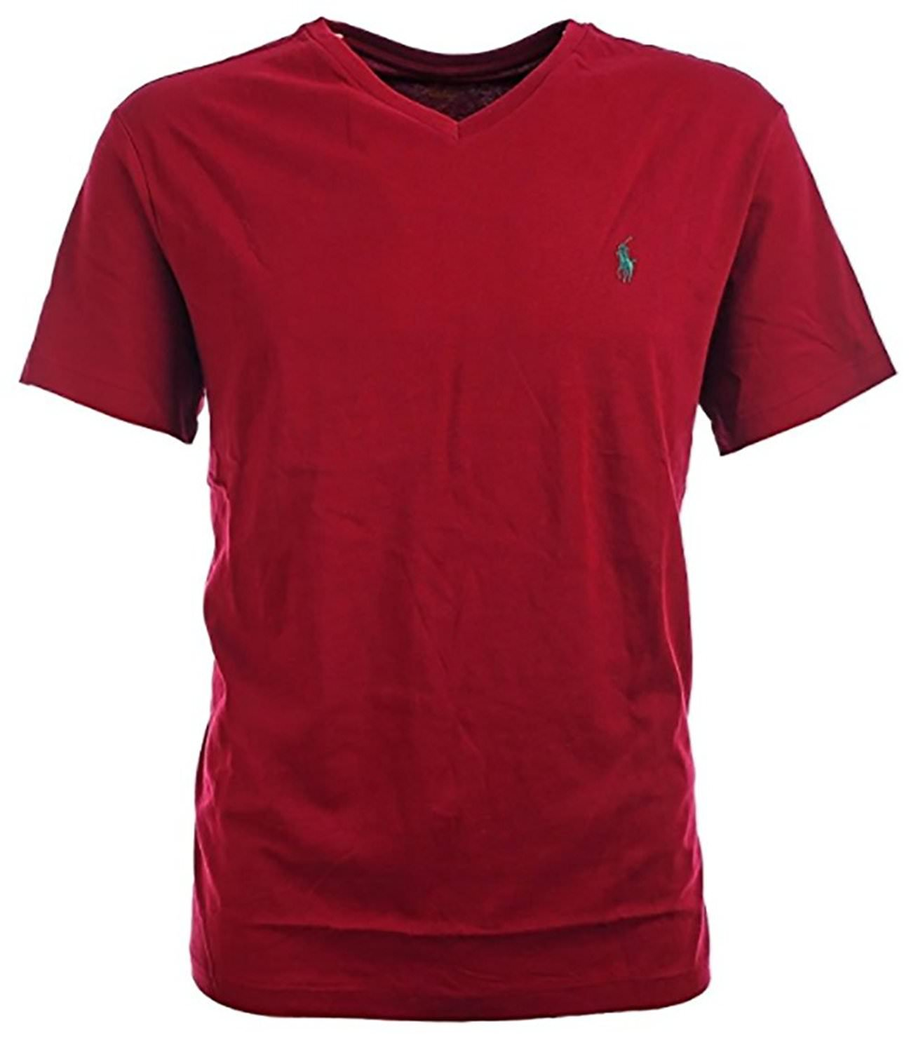 Polo Ralph Lauren Men's Classic Fit V-Neck T-Shirt (Small, Wine Red)