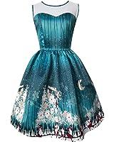 Kimitsu-Science DressNew Christmas Vintage Women Print A Line Dress Sleeveless Vestidos O Neck Long