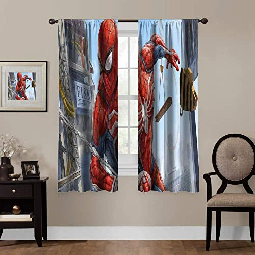 Loruoaine Thermal Insulated Blackout Curtain Marvels Spiderman Assorted Sizes Colors Width 274cm x HIGH 214cm