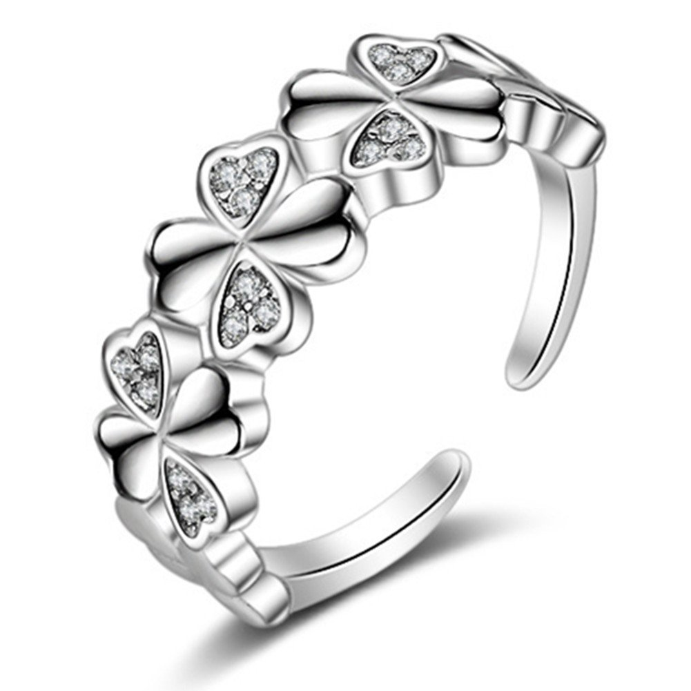 S925 Silver Plated Cubic zirconia Single Row Four Clover Flowers Women Open Band Ring, adjustable BulingVV BLVV39